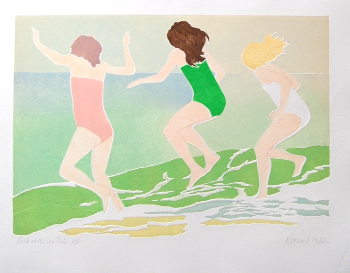 Print of Girls at the Seaside